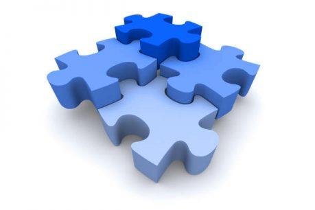 Four Interlocking Puzzle Pieces