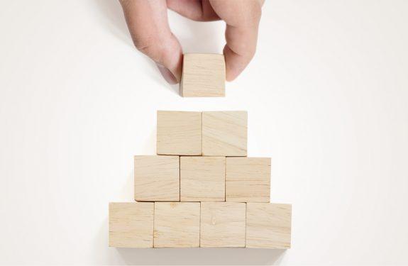 Ten Stacked Wooden Blocks