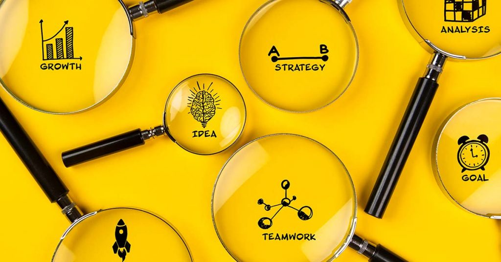 Examining strategic planning icon sketches